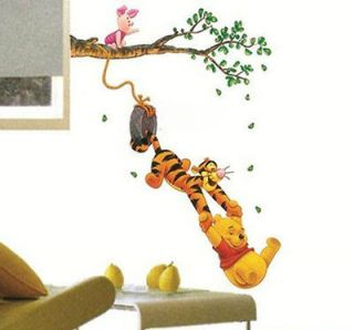 Cute Winnie the Pooh Swing Tree Removable PVC Wall Sticker Decal