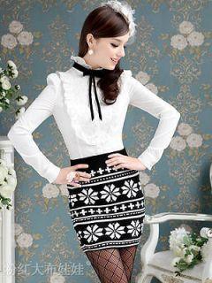 office elegant retro black bow lace long sleeve women blouse shirt top