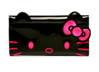 AUTHENTIC  Loungefly ~ HELLO KITTY BLACK PATENT FACE WALLET