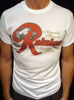 Rainier Beer t shirt vintage seattle brewery wht*
