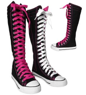 NEW Womens Tall Knee High Lace Up Canvas Sneaker Boots BLACK PINK