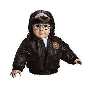 American Girl Mollys Aviator Outfit Bomber Brown Jacket Only Flight
