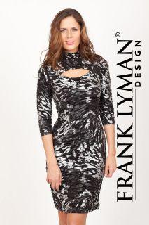 FRANK LYMAN BLACK AND WHITE PRINTED DRESS WITH KEYHOLE NECKLINE #24155