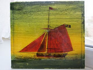 Antique Reverse Ship Painting On Glass Picture Made in England