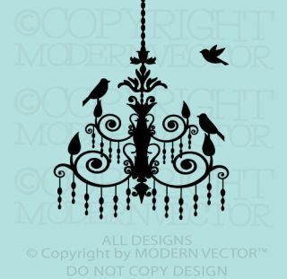 CHANDELIER with Birds Paris Theme Vinyl Wall Decal Designs Decor Girls