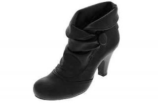 Madden Girl NEW Shayker Black Fold Over Pull On Heels Booties Shoes 7