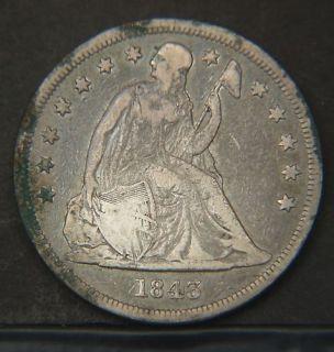 1843 seated liberty dollar nice circulated p16688