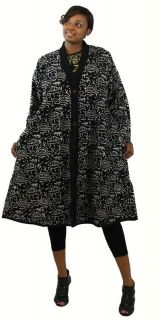 AFRICAN PRINT JACKET COTTON ETHNIC CULTURAL PRINT LONG JACKET BLACK