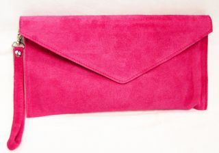 18 Colours Large Envelope Clutch Evening Genuine Real Suede Leather