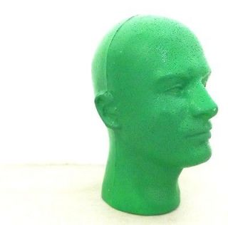Bright Green Styrofoam Men Man Retro Mannequin Head foam Wig Hat Stand
