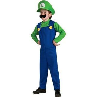 Super Mario Brothers Boy Luigi Halloween Child Costume  Large