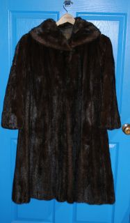 Natural Mahogany Mink Coat, Full Length, size 10 14, Mint Condition