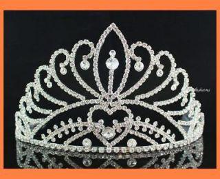 majestic rhinestone crown tiara w combs pageant h470