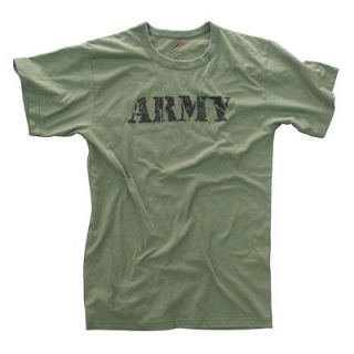 ARMY T SHIRT OLIVE DRAB PRINTED VINTAGE COTTON POLY BLEND DESIGN