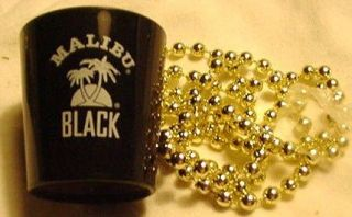 Malibu Black RumShot Glass on a String of Beads.Plastic.NEW