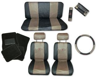 Sport Jersey Tan Black Car Truck Seat Covers 9pc Pkg with Black Floor