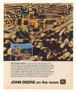 Newly listed 1978 John Deere Log Lumber Loader Tractor Photo Ad