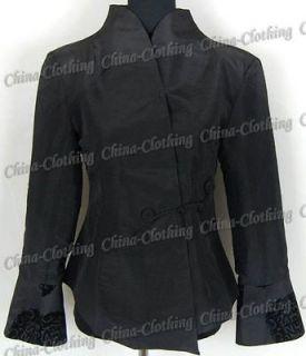 Chinese Womens Handmade Satin Clothing Jacket Coat Outerwear Black M