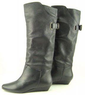 STEVEN STEVE MADDEN IDEN Black Womens Designer Shoes Wedge Knee High