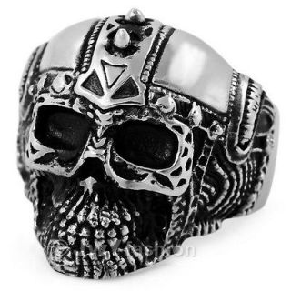 11 Men Silver Stainless Steel Skull Big Heavy Biker Rings RKLLP11 314