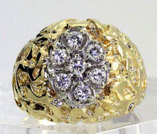 MENS 1.00CT 7 ROUND DIAMOND CLUSTER & 14K YELLOW GOLD DOMED NUGGET