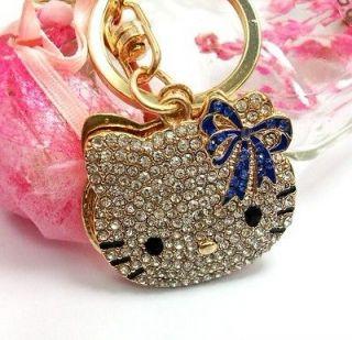 Mirror Blue Butterfly Cute Swarovski Crystal Hello Kitty Cat Key Chain