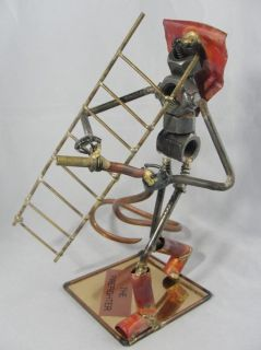 Romano Signed FIREFIGHTER Scrap Metal Sculpture Ladder & Hose Fireman