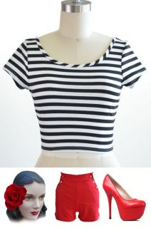 50s Style BLACK & White STRIPED J.D. Bad Girl NAUTICAL PINUP Cropped