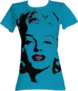 Marilyn Monroe MAH Face Turquoise Licensed Junior T Shirt S M L XL