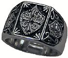 rhodium rp masonic templar knight ring size 9 14 more