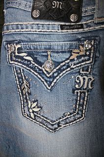miss me jean thick stitch flower border boot cut size 27