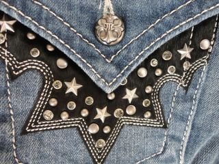 Miss Me Jeans Brand New Western Stars Studs Cowhide Stretch Denim Boot
