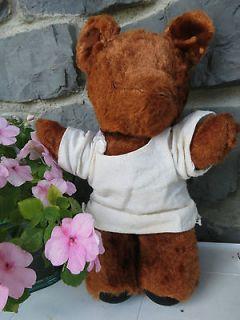 old teddy bear brown fur vintage shirt eyeless ugly antique