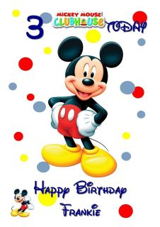 MICKEY MOUSE CLUBHOUSE Personalised Birthday Card LARGE A5 Disney Son