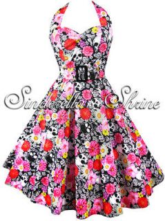 Hell Bunny~VoNNie~Pink Red Flower Skull 50s Rock n Roll Party Dress 8