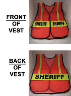 sheriff officer orange reflective traffic safety vest