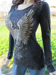 Vocal Tribal Gold Wings Mineral Wash Tattoo Top Shirt Western Bling S