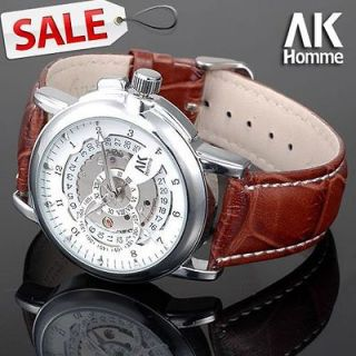 Dial Brown Strap Mens Automatic Mechanical Wrist Watch + Gift Box