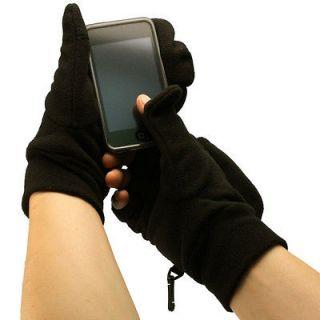 Mens Winter Fleece Water Repellent Flip Top Fingerless Mitten Gloves