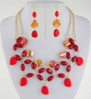 14kt Yellow Gold Ep Spicy Red Beaded Bib Necklace and Dangle Earring