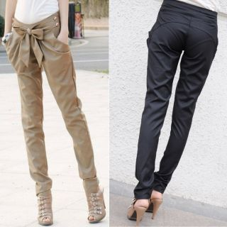 Chic Women Fashion Harem Skinny Long Trousers OL Casual Slim Bow Pants