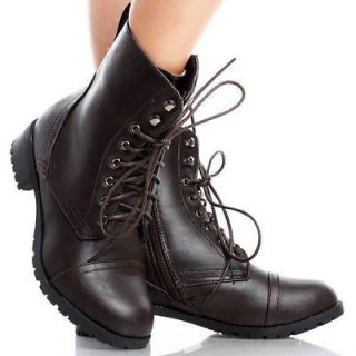 Brown Faux Leather Lace Up Combat Womens Platform Flat Ankle Boots