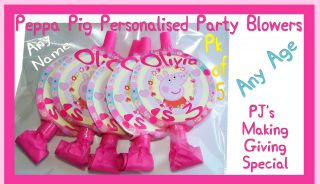 Toppers & Blowers Pk of 5 Peppa Pig Birthday Partyware Any Name Age