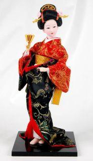 12 Japanese Geisha Doll! Beautiful Brocade Kimono! Hand Painted Face