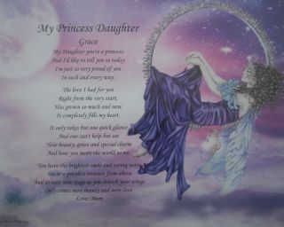 MY PRINCESS DAUGHTER PERSONALIZED POEM BIRTHDAY PRESENT OR CHRISTMAS