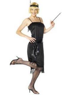 LADIES WOMENS PLUS SIZE 1920s BLACK FRINGE FLAPPER FANCY DRESS SIZE 20
