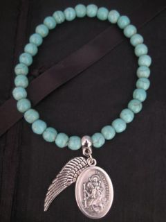 turquoise bracelet w st christopher angel wing charms from australia