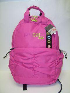 PUMA ProCat Cinched Backpack Pink/Lime Laptop Netbook Sleeve Book Bag