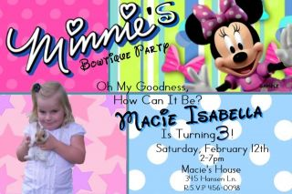 MINNIE MOUSE BOWTIQUE Birthday Party Invitations  Add a photo