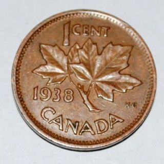 canada 1938 1 cent copper coin one canadian penny nice